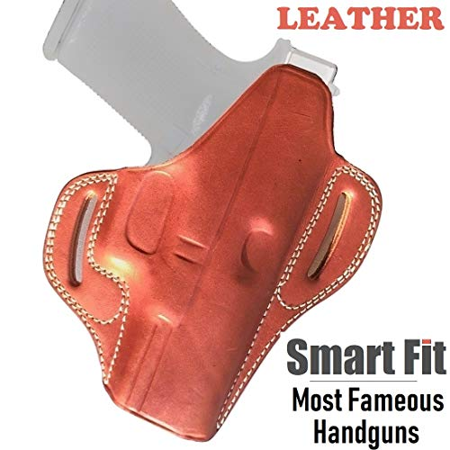 AYSESA OWB for Glock 19 Holster Leather Fits Mid Size Pistols 9mm 40 45 Concealed Carry Gun Fit Glock G19 23 26 27 Springfield XDS S&W 457 Beretta 84 (Classic Tan Brown)