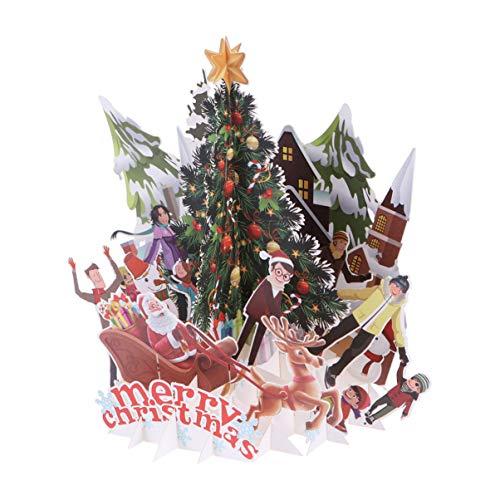 STOBOK Tarjetas de Navidad en 3D Tarjetas de felicitación emergentes Postales Divertidas de Vacaciones para Navidad