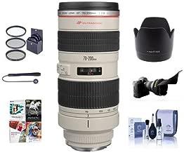 Canon EF 70-200mm f/2.8L USM AF Lens Kit, USA - Bundle with 77mm Photo Essentials Filter Kit, Flex Lens Shade, Lens Cap Leash, Lens Cleaning Kit, Lens Hood ET-83 II, Pro Software Package