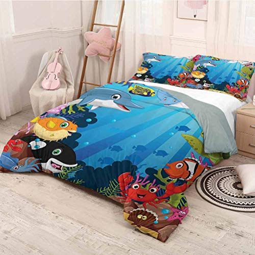 HELLOLEON Whale Decor Collection Extra Large Quilt Cover Colorful Underwater Sandy Ground Cartoon Shark Fin Sea Plants Design Can be Used as a Quilt Cover-Lightweight (Full) Blue Orange Red