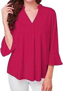 iDWZA Women's Loose Simple Solid Lotus Leaf Sleeve Blouse Tops Tunic Tee Shirts