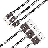 【3本セット】RoiCiel ライトニング ケーブル Lightning ケーブル USB 充電 ナイロン編み 高耐久 小型ヘッド設計 急速充電 iPhone X/iPhone 8 /8 Plus/iPhone 7/7 Plus /6s/6s Plus/6/6 Plus/5/5C/SE/iPad/iPod対応RC66LTN-86P (0.9M 3本セット, ブラック/シルバーグレー)