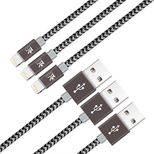 【3本セット】RoiCiel ライトニング ケーブル Lightning ケーブル USB 充電 ナイロン編み 高耐久 小型ヘッド設計 急速充電 iPhone X /iPhone 8 /8 Plus /iPhone 7/7 Plus /6s/6s Plus/6/6 Plus/5/5C/SE/iPad/iPod対応RC66LTN-86P (0.9M 3本セット, ブラック/シルバーグレー)