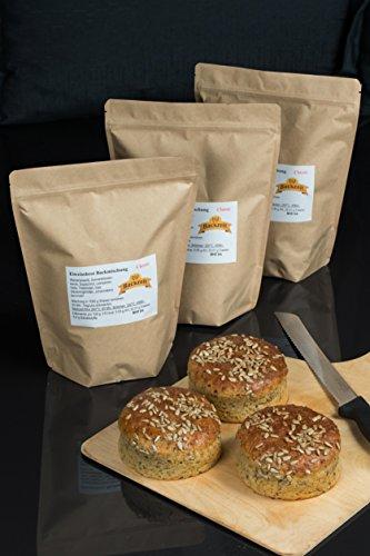 Eiweißbrot Backmischung Classic ohne Weizen und Roggenmehl - frisch abgefüllte 3x 1000g Vorratspackung in Deutschland hergestelltes Diabetikerbrot mit 90 % weniger Kohlenhydraten als Brot