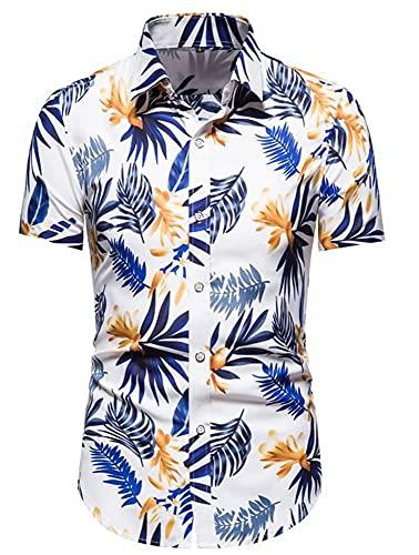 Shirt Playa Hombre Estampado Transpirable Verano Vintage Hombre Shirt Cuello Kent Tapeta con Botones Shirt...
