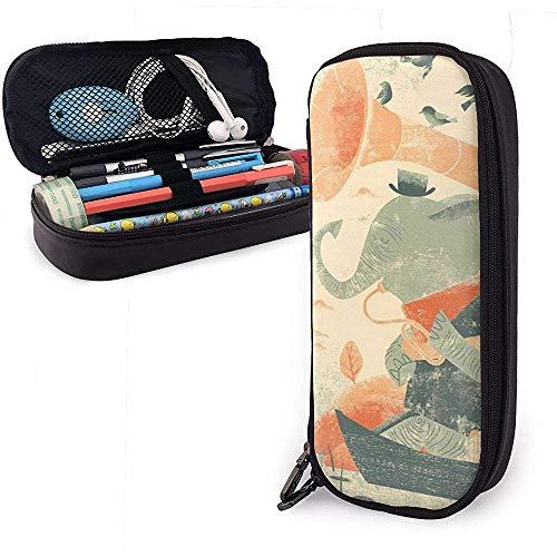 Eine Trompete-Blowing Elephant PU-Leder-Bleistift-Federbeutel-Beutel-Kasten-Halter-Schule-Büro-Hochschulgeldbeutel-kosmetische Verfassungs-Tasche