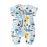 Bebé Saco de Dormir con Pies Pijama 0.5Tog Manga Corta Verano Mono Muselina de Algodón Transpirable Ropa de Dormir Mamelucos Niños Niñas (XL) 3-5 años