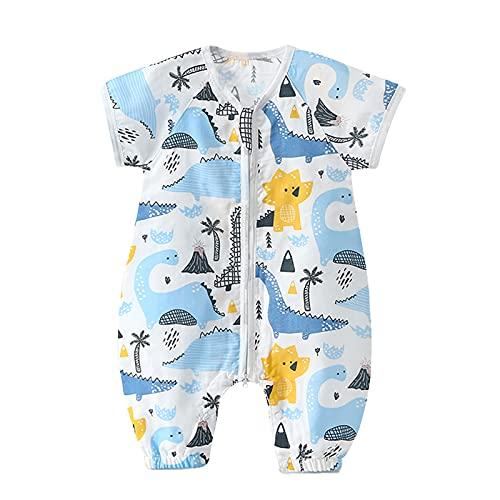 Bebé Saco de Dormir con Pies Pijama 0.5Tog Manga Corta Verano Mono Muselina de Algodón Transpirable Ropa de Dormir Mamelucos Niños Niñas (L) 1.5-3 años