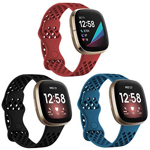 Ouwegaga Kompatibel mit Fitbit Versa 3 Armband/Fitbit Sense Armband, Weichem Silikon Sportarmband Ersatz Armband Kompatibel mit Fitbit Versa 3/Sense für Damen Männer, Klein Schwarz/Schiefer/Rot