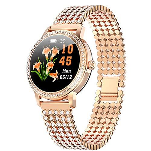 WMB Reloj Inteligente con Tachuelas Diamantados 2021 Reloj Deportivo De Acero Lindo De Las Mujeres IP68 Pulsera De Aptitud Impermeable A Prueba De Agua LW20 Smartwatch,C