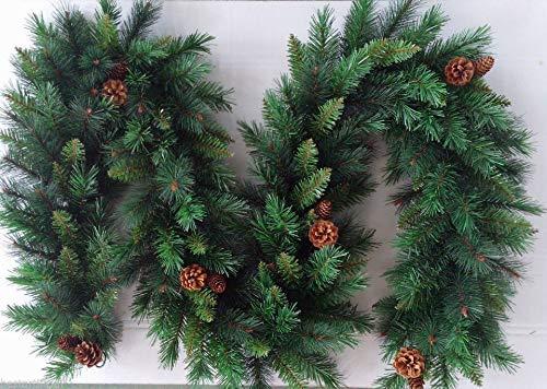 Best Artificial 9ft (2.7m) Christmas Garland with 16 Pine Cones Indoor Xmas 215 Tips