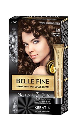 BELLE'FINE® - Coloration crème pour cheveux Black Series - luxueux - coloration naturelle/permanente - 3 huiles/kératine - BRUN NATUREL