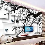 XHXI Papel tapiz fotográfico ramas de árboles negros 3D estéreo celosía mural de pared sala de estar sofá TV d Pared Pintado Papel tapiz Decoración dormitorio Fotomural sala sofá mural-400cm×280cm