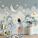 Fotomurales Foto 3D De Dibujos Animados Little Bear Moon Stars Habitación De Niños Habitación De Niños Dormitorio Fondo Arte De La Pared Mural Papel Tapiz Seda 350X256Cm
