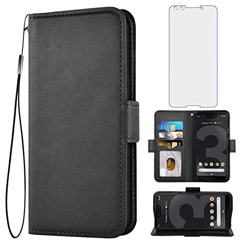 Asuwish Compatible with Google Pixel 3 Wallet Case with Tempered Glass Screen Protector and Leather Flip Cover Card Holder Stand Cell Accessories Phone Cases for Pixel3 III Pixle 3case Women Men Black