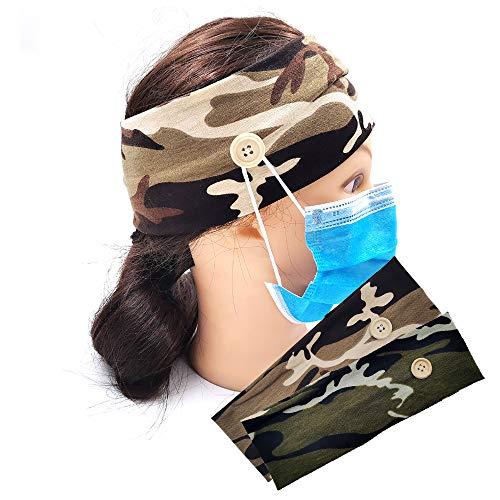 Jecxep Fascia con bottoni per maschera, accessori per capelli, fascia per capelli, colore giallo mimetico