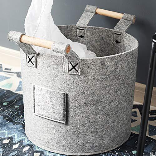 YCL-panier à linge Panier de rangement de déchets nordiques droit Seau de stockage en feutre corporel pour enfants (Color : Gray, Taille : 40.2x35x18.3cm)