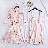 Pijama De Satén para Mujer,Moda Sexy Señoras 2 Pijamas Elegante Vestido De Novia Retro Estampado Pijama Pijama Pijama Set Satin Casual Encaje Rosa Lencería Tirantes, XXL