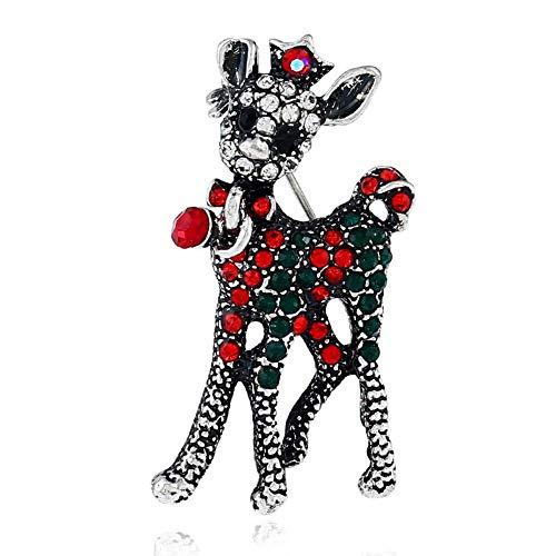 Defantia Broche para Mujer Tema navideño Campana Elk Diamante Pin Creativo Accesorios para Disfraces Elk Silver