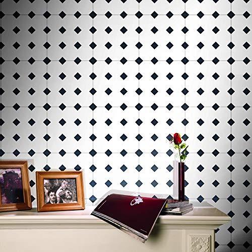 JY ART Mosaik Fliesenkleber 25 Stück 20x20cm Wand-Aufkleber Fliesenfolie Wasserdicht Selbstklebende Schwarz und weiß Badezimmer, Küche Aufkleber,20 * 500cm