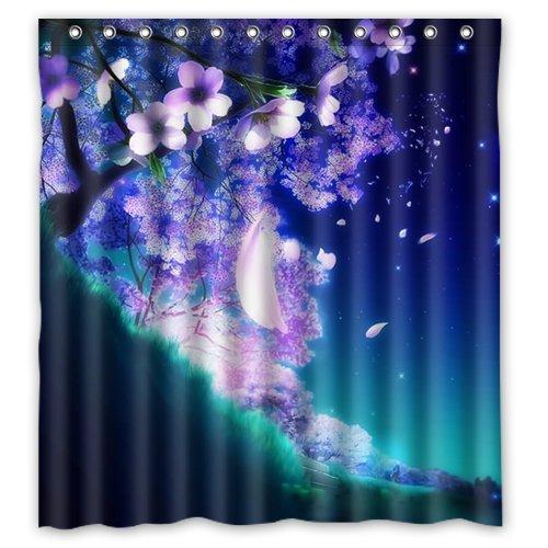 WWWVIOUY Eco-Friendly Waterproof Shower Curtain Cartoon Cherry Blossom Beautiful Sakura Flowers Bathroom Polyester Fabric Shower Curtain 66(w) x72(h) Inch