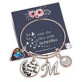 Yoosteel Charm Bracelets for Women, Rose Gold Butterfly Gifts Butterfly Bracelet Loss of a Mother Gift Sympathy Gifts Momerial Bracelet(M)