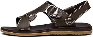 J.S.U Sandal Men Sandals Summer Genuine Leather Sandals Men Outdoor Shoes Men Leather Sandals Comfortable Sports Travel Beach Shoes (Color : Khaki, Size : 5.5 UK)