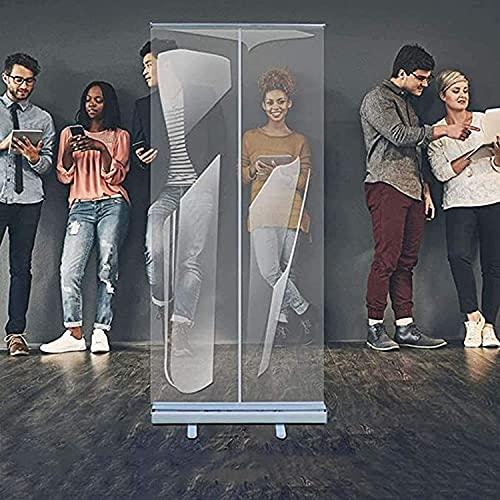 TOPNIU Protector de estornudos para piso de pie, protector de estornudos transparente para la protección contra la partición de la pantalla, con soporte enrollable, barrera de aislamiento de pie libre