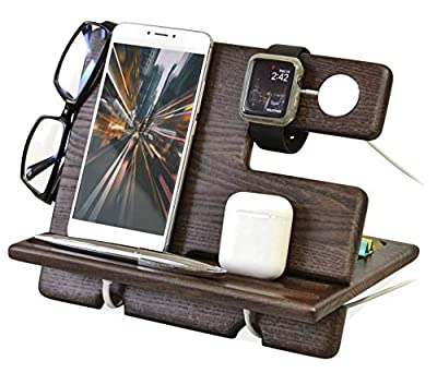TESLYAR Wood Phone Docking Station Ash Key Holder Wallet Stand Watch Organizer Men Gift Husband Wife Anniversary Dad Birthday Nightstand Father Graduation Gadgets Compatible with iPhone iWatch AirPods from TESLYAR
