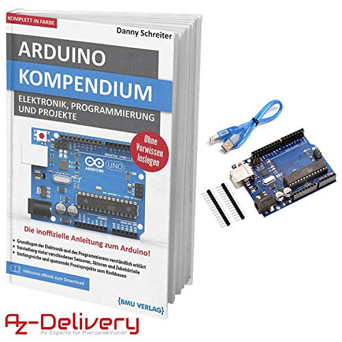 AZDelivery Large Arduino Compendium Book with Free Microcontroller Board ATmega328P, ATmega16U2, with USB cable, compatible with Arduino UNO R3