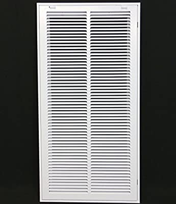 """14"""" X 30"""" Steel Return Air Filter Grille for 1"""" Filter - Removable Face/Door - HVAC Duct Cover - Flat Stamped Face -White [Outer Dimensions: 15.75w X 31.75h]"""