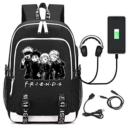 EDMKO Mochilas Jujutsu Kaisen, Impermeable Anime Mochila Escolar Carga USB Bolsa para Laptop Rucksack con Bolsillo Anti-Robo Bolsa de Viaje Unisexo,C