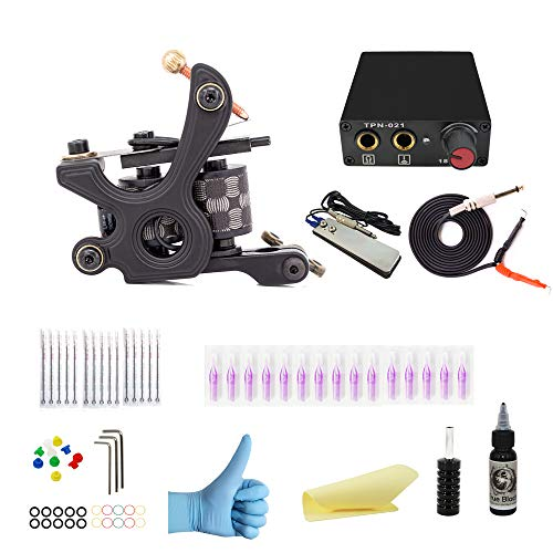 Wormhole Complete Tattoo Kit for Beginners Tattoo Power Supply Kit 1 Black Tattoo Ink 5 Tattoo Needles 1 Pro Tattoo Machine Guns Kit Tattoo Supplies SL-TK032