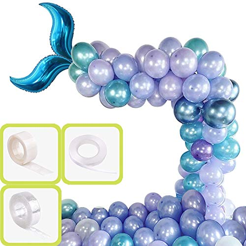Yiran 55pcs Mermaid Party Balloons Garland Arch kit for Baby Shower Birthday Wedding Under The Sea Bridal Shower with Chrome Blue Balloons and Mermaid Foil Tail ( 2 Spare Balloons )