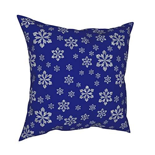 Fundas de almohada, diseño de copo de nieve azul plateado para el hogar, fundas de cojín cuadradas para sofá, sala de estar, cama, 45,7 x 45,7 cm