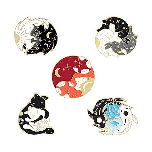 5 alfileres de esmalte para día y noche, personalizados, diseño de zorro, luna, zorro, conejo, murciélago, lobo y bolso, para ropa, pin de solapa, insignia de animales estrellados