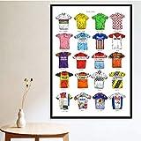 DPFRY Cuadro En Lienzo Impresiones Ciclismo Camisa Deportiva Colección De Camisetas Collage Arte Arte Pintura En Lienzo Cuadros De Pared Sala De Estar Decoración para El Hogar Xw41A 40X60Cm Sin Marco