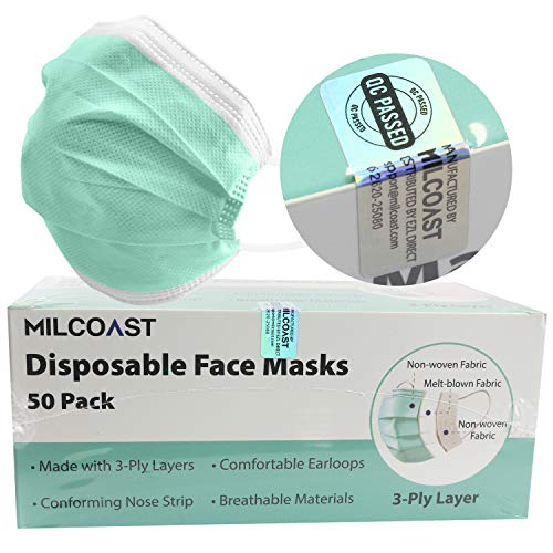 Milcoast Disposable Face Masks Breathable 3-Layer Filter Soft Earloops - 50 Pack Color (Green)