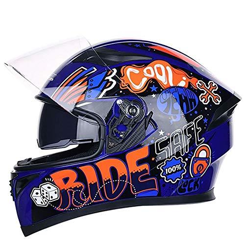 Bradoner Casco de motocicleta de plástico ABS azul para cross country Mountain de cara completa para bicicleta MTB DH Racing Casco de moto Cross Country Downhill (tamaño: XL)