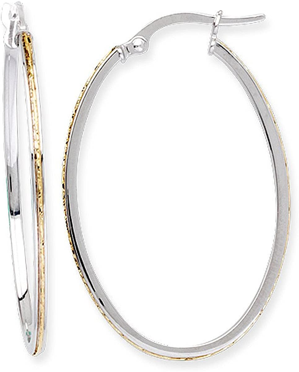 Mail order 14k Two-tone White and Yellow Gold Hoop Safety and trust Large Oval 23x3 Earrings