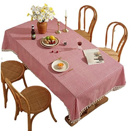 XIAOBAO mantel limpio, nuevo algodón y lino rojo fina rejilla borla paño de mesa, cubierta de escritorio tela-borla 90* 90 cm, para cocina comedor decoración mesa