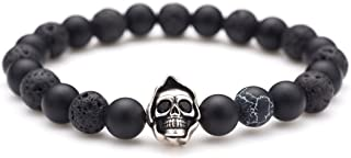 Death Skull Charm with Black Matte Onyx and Lava Stone 8mm Beads Stretch Bracelet, Lava Rock Aromatherapy Essential Oil Diffuser Bracelet for Anxiety Stress Relief