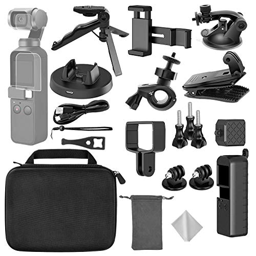TONCHU 21-in-1 Expansion Kit for DJI OSMO Pocket Action Camera Mounts,Accessory Bundle kit for Carrying Case/Mobile Phone Holder/Charging Base/Tripod/Car Suction Cup Bracket/Strap Clip and More