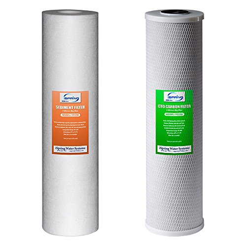 """iSpring F2WGB22B 4.5"""" x 20"""" 2-Stage Whole House Water Filter Replacement Pack Set with Sediment and Carbon Block Cartridges, Fits WGB22B, white"""