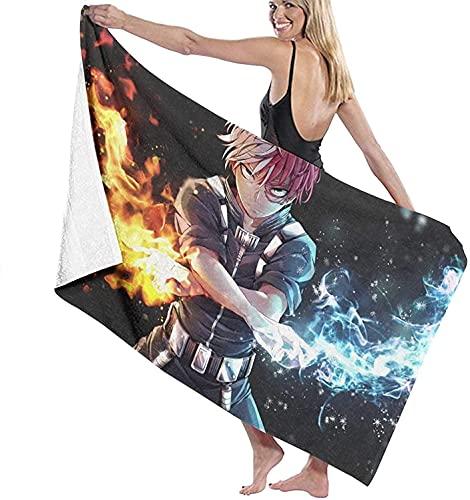 QWAS My Hero Academia Attack on Titan Toallas de playa Todoroki Shoto Super Suave Toalla de playa Toalla de microfibra toalla de playa (A03,80 cm x 130 cm)