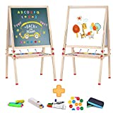 Kids Easel Childrens Wooden Art Easels for Artist Double Sided Chalkboard / Whiteboard
