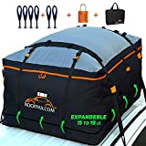 RoofPax Expandable Rooftop Cargo Bag, 15 to 19 Cubic Feet Extendable 100% Double Zippers Waterproof Military Grade Integrated Pad Roof Bag. Fits All Vehicle With or Without Rack, 6 Door Hooks Included