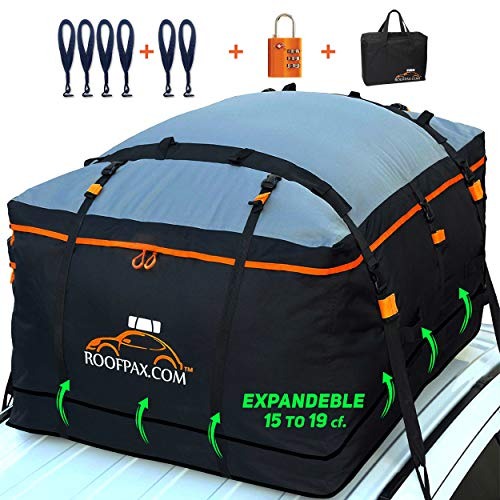 RoofPax Expandable Rooftop Cargo Bag, 15 to 19 Cubic Feet Extendable 100% Double Zippers Waterproof...
