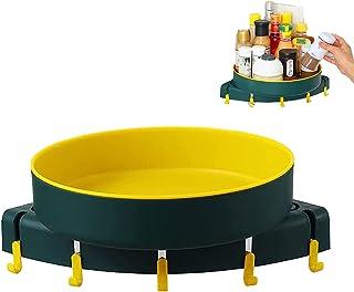 回転可能なコーナー シャワー キャディ、5 つのフックが付いている浴室および台所のための穴あけのないプラスチック整理棚 (黄緑)