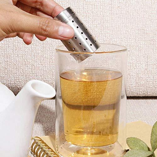 Heoolstranger theezeef roestvrij staal theefilter voor losse thee, kleine theefilters met deksel, poreus, niet gemakkelijk af te vallen, cilindrisch, voor theepot kopje, 5 x 3 cm Everyday